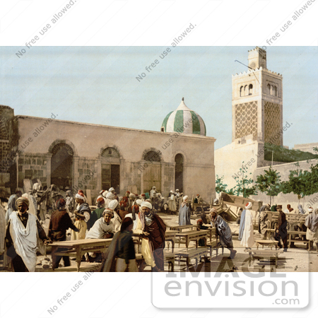 #13448 Picture of Vendors and Customers at the Ebony market, Tunis, Tunisia by JVPD