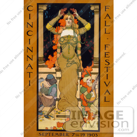 #13472 Picture of a Woman on a Poster for the Cincinnati Fall Festival of 1903 by JVPD