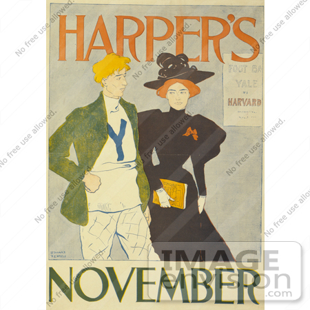#13473 Picture of a Couple Walking on the Harper's November of 1894 Issue by JVPD