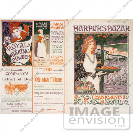 #13474 Picture of the Front and Back Covers of Harper's Bazar Thanksgiving of 1894 Magazine by JVPD