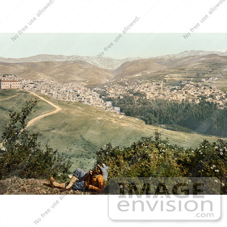 #13575 Picture of a Man on a Viewpoint Overlooking Zahleh, Lebanon by JVPD