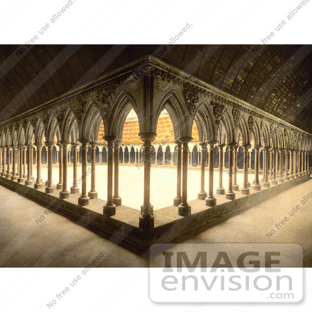 #13592 Picture of Monks Promenade With Arcade and Pillars, Mont Saint-Michel, France by JVPD