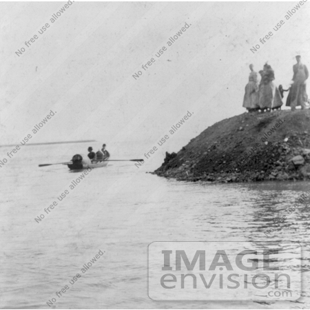 #13737 Picture of a Boat Taking Annie Edson Taylor's Barrel to the Drop Off Point at Niagara by JVPD