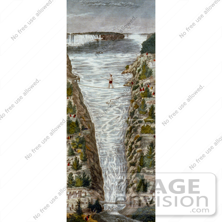 #13744 Picture of Jean Francois Gravelet-Blondin on the Tightrope at Niagara by JVPD