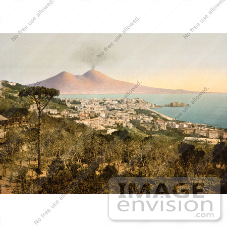#14225 Picture of Naples and Mount Vesuvius, Italy by JVPD