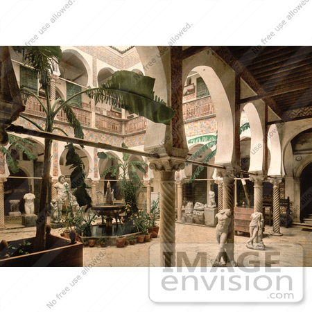 #14319 Picture of the Museum Entrance Hall With Banana Trees, Fountains and Statues, Algeria by JVPD