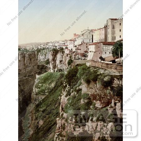 #14334 Picture of Buildings on a Cliff, Ravine, Constantine, Algeria by JVPD