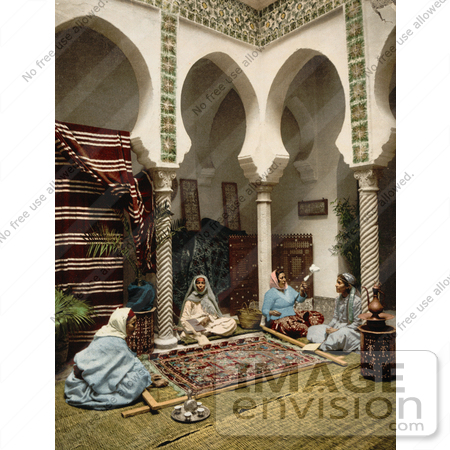 #14345 Picture of Moorish Women Making Carpets, Algeria by JVPD