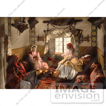 #14347 Picture of Three Moorish Women Chatting Indoors by JVPD
