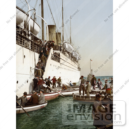 #14357 Picture of People Boarding on Smaller Boats, Leaving a Big Ship, Algeria by JVPD