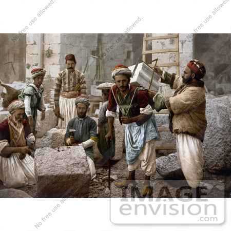#14404 Picture of Male Stone Cutters in Jerusalem, Israel by JVPD