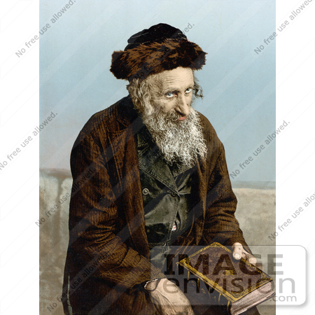#14410 Picture of an Israelite Man Seated With a Book, Jerusalem, Israel by JVPD