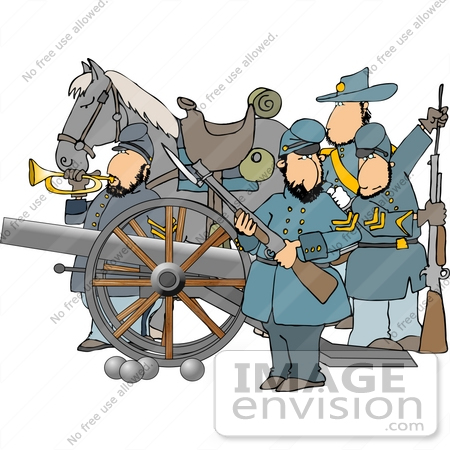 Four Civil War Soldiers With a Canon and Horse Clipart | #14425 by ...
