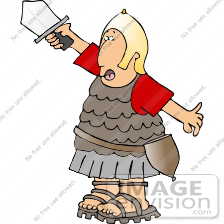 #14431 Roman Soldier in Uniform, Holding up a Sword Clipart by DJArt