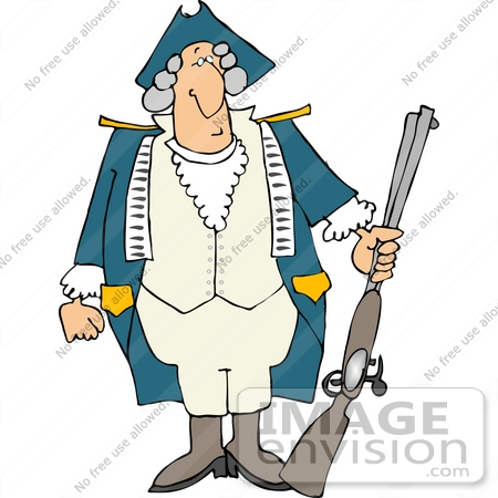 #14442 Revolutionary War Soldier in a Wig and Uniform, Holding a Rifle Clipart by DJArt