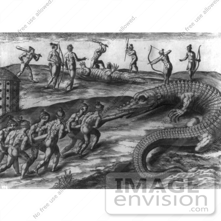 #1445 Native American Indians Killing Alligators by JVPD