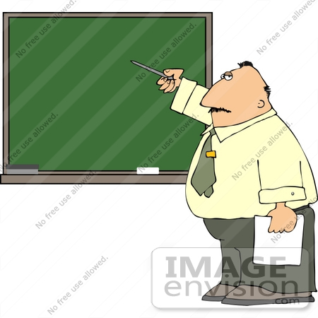 #14481 Middle Aged Caucasian Male Teacher Pointing to a Chalkboard Clipart by DJArt