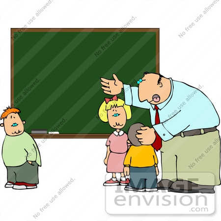 #14482 Teacher Involving Students in a Lesson at a Chalkboard Clipart by DJArt