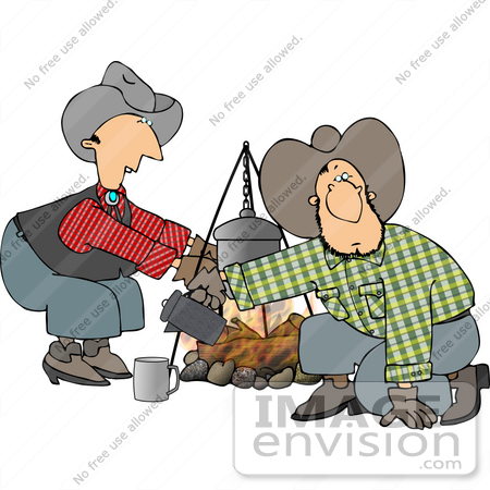 cowboy men cooking at a campfire clipart 14483 by djart royalty rh imageenvision com Cowboys around Campfire Cowboys at Campfire