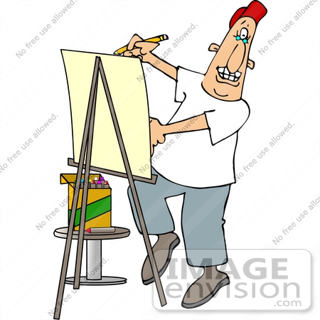 #14485 Caricature Artist Using an Easel and Crayons Clipart by DJArt