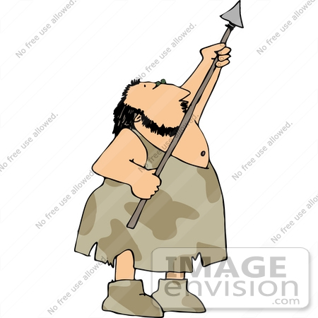 #14497 Caveman Holding a Spear Clipart by DJArt