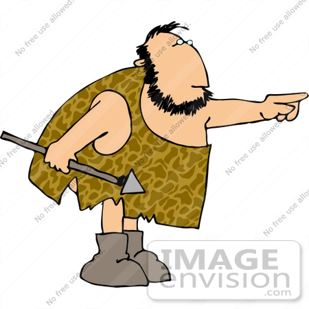 #14499 Caveman Holding a Spear and Pointing Clipart by DJArt