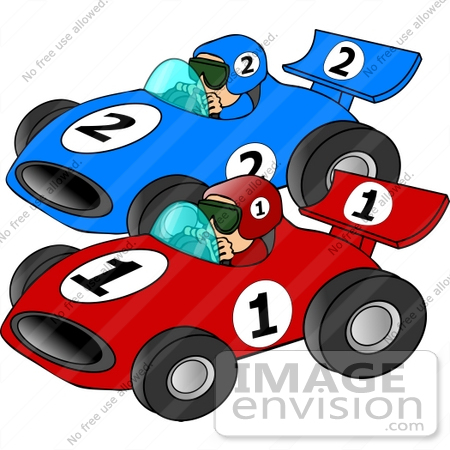 #14509 Two Men Racing Cars Clipart by DJArt