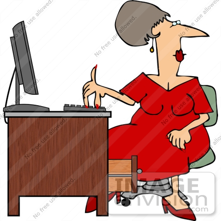 #14511 Multi Tasking Secretary Typing While Looking Away Clipart by DJArt
