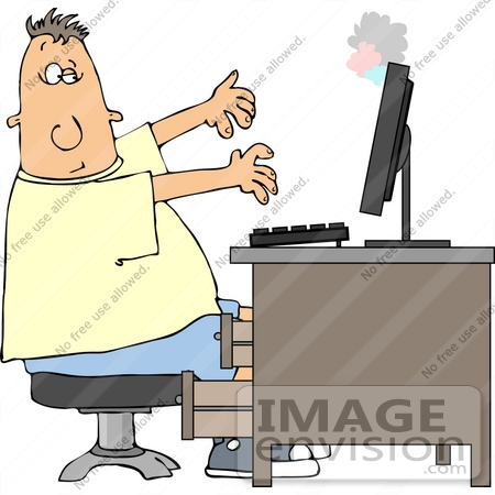 #14513 Caucasian Man in Front of a Smoking Computer Clipart by DJArt