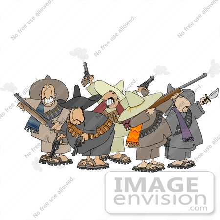 #14525 Group of Mexican Banditos With Weapons Clipart by DJArt