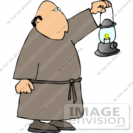 Clipart of a bald monk in a robe, holding a lantern out in front of ...