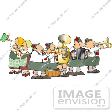#14550 German Brass Band and Beer Maidens at Oktoberfest Clipart by DJArt