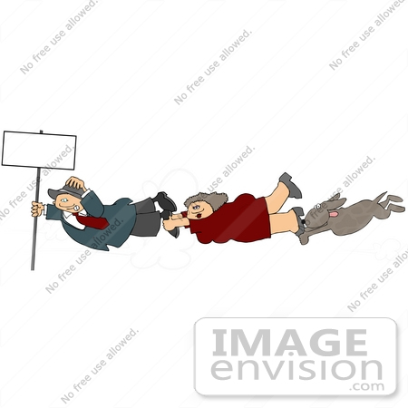 #14555 Man, Woman and Dog Holding Onto a Pole in a Wind Storm Clipart by DJArt