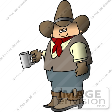 #14558 Cowboy Holding a Coffee Mug Clipart by DJArt