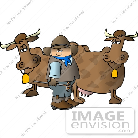 Cowboy Holding a Branding Iron by Two Cows Clipart | #14562 by ...