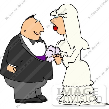 #14574 Caucasian Bride and Groom Couple Getting Married Clipart by DJArt