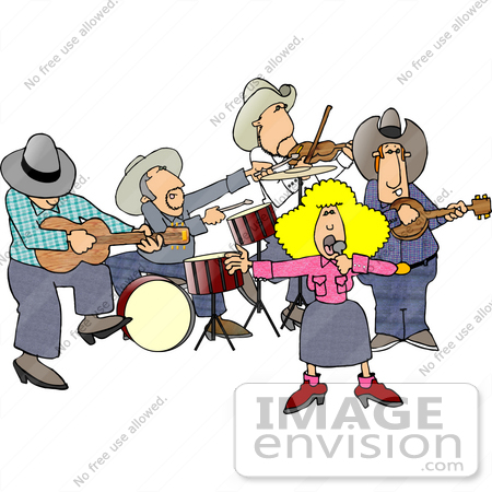 #14577 Country Music Band With a Singer, Guitarist, Drummer, Violinist, and Banjo Player Clipart by DJArt