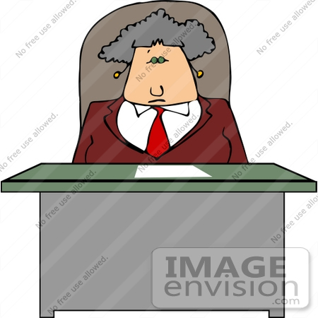 #14584 Caucasian Boss Woman at a Desk Clipart by DJArt