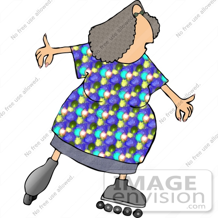 #14590 Middle Aged Caucasian Woman Roller Skating Clipart by DJArt