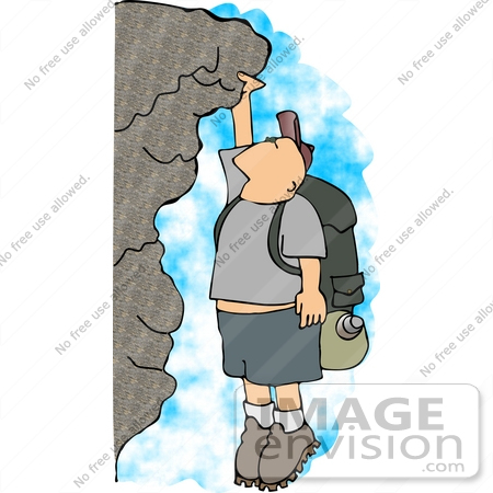 Middle Aged Caucasian Man Rock Climbing Clipart | #14591 by DJArt ...