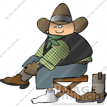 Caucasian Cowboy Putting Socks on Over His Boots Clipart ...