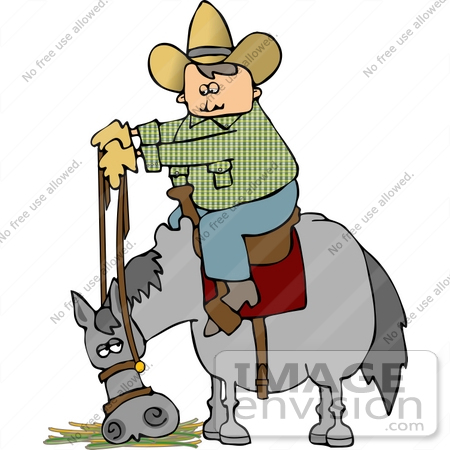 Cowboy on a horse that is eating clipart 14606 by djart royalty