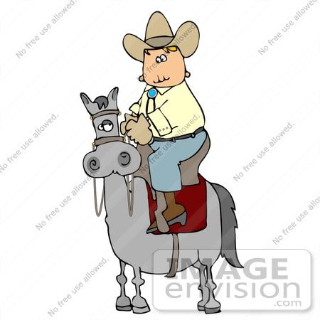 #14608 Cowboy Riding High on a Grey Horse Clipart by DJArt