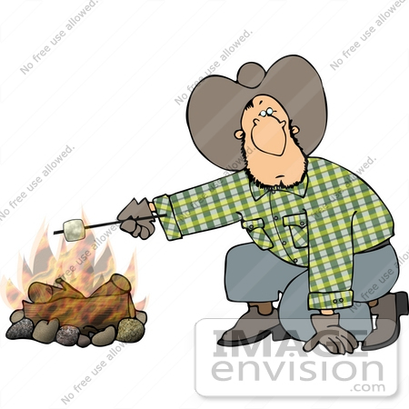 #14611 Cowboy Man Roasting a Marshmallow Over a Fire Clipart by DJArt