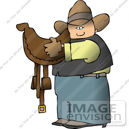 #14613 Caucasian Cowboy Carrying a Brown Leather Saddle Clipart by DJArt