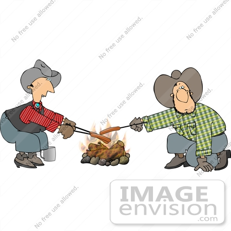 #14619 Two Caucasian Cowboys Roasting Hot Dogs Over a Campfire Clipart by DJArt