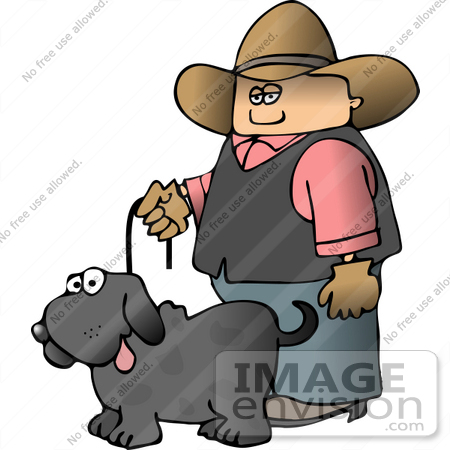 #14622 Caucasian Cowboy Walking His Gray Dog Clipart by DJArt