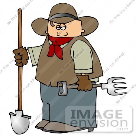 #14624 Cowboy With a Shovel and Pitchfork Clipart by DJArt