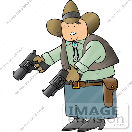 #14625 Caucasian Cowboy Man Holding Two Pistils Clipart by DJArt