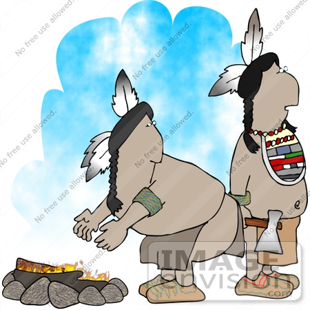 #14627 Native American Indian Men by a Fire Clipart by DJArt